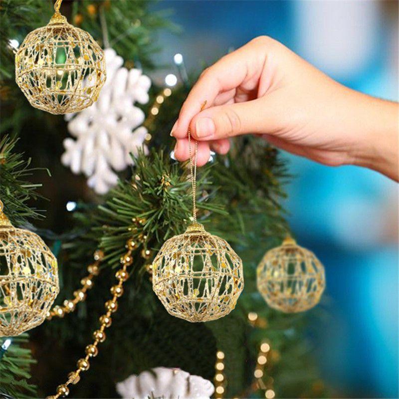 6pcs Glitter 5/6 cm del árbol de navidad ahueca hacia fuera las bolas de Navidad bola del árbol de oro de la fiesta de Navidad adornos adornos de boda Decoración para el Hogar