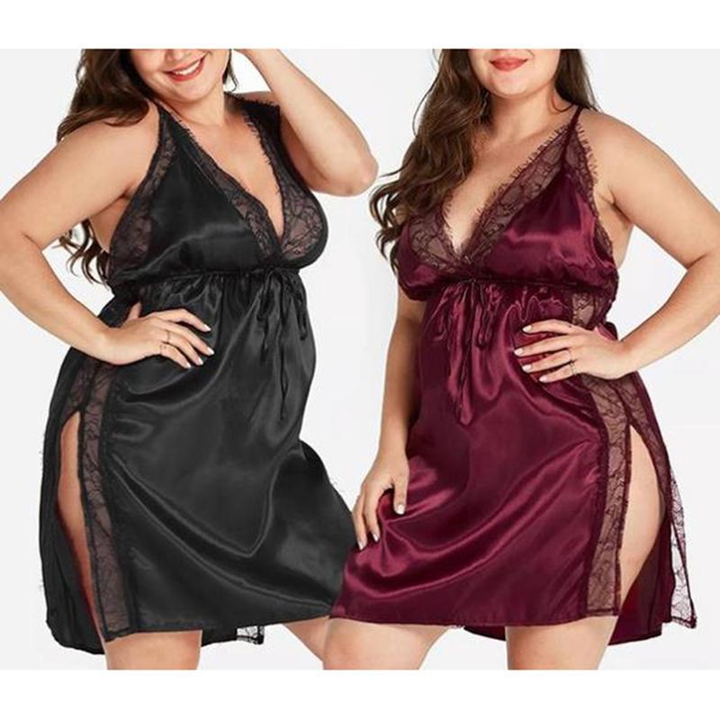 Womens Sling Homewear Lingerie Sleepwear Black Night Gown Lingerie Ladies Sexy Lace Babydolls Sleepwear Plus Size
