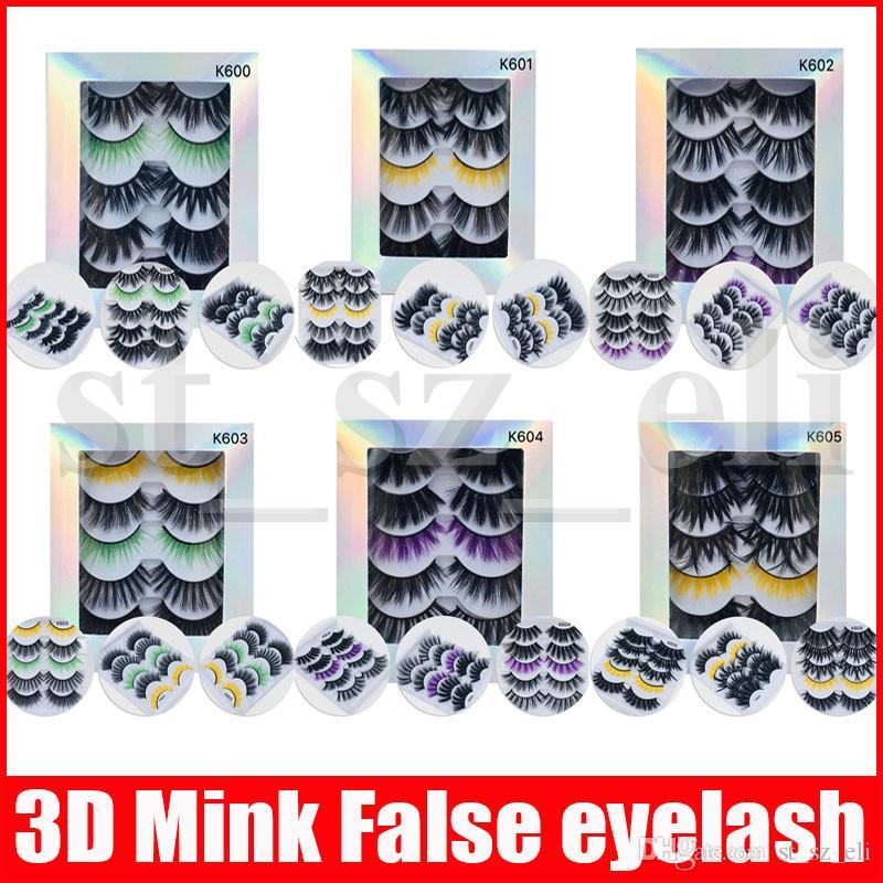 5Pairs/set 3D Mink Eyelashes Eye Lashes Handmade Cross Eyelash extensions Makeup Color Thick False Eyelashes Full Strip Fake Lashes
