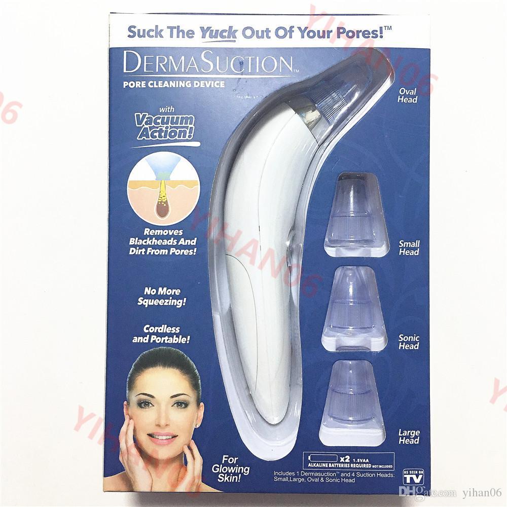 2019 Novo DermaSuction Removedor de Poros Facial Removedor de Poros Elétricos de Remoção de Extração De Vácuo Máquina de Descascar a Pele Recarregável