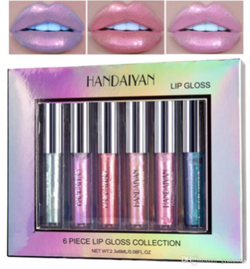 دروبشيبينغ HANDAIYAN 6Piece Lip Gloss Collection Moistarize Mermaid LipGloss Crystal Cream Lip Glaze Set 2.3ML * 6 Maquillage ..