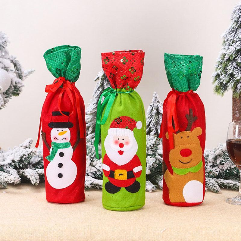 Cute botella de dibujos animados del muñeco de Elk Covers Navidad de la manera Conjunto festivo del partido vino tinto Tabla sistema del vino de la botella