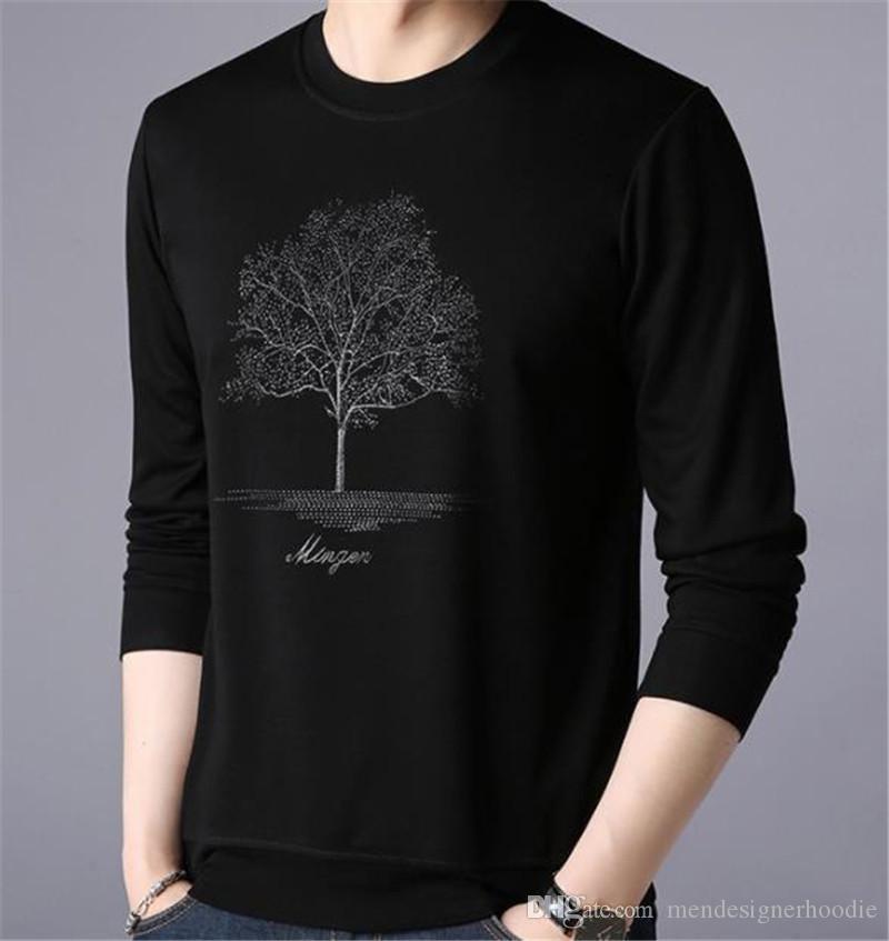 Ağaç Baskı Erkek Tasarımcı tişörtleri Moda Kazak Mürettebat Yaka Uzun Kollu Erkek Tees Casual Erkek Giyim