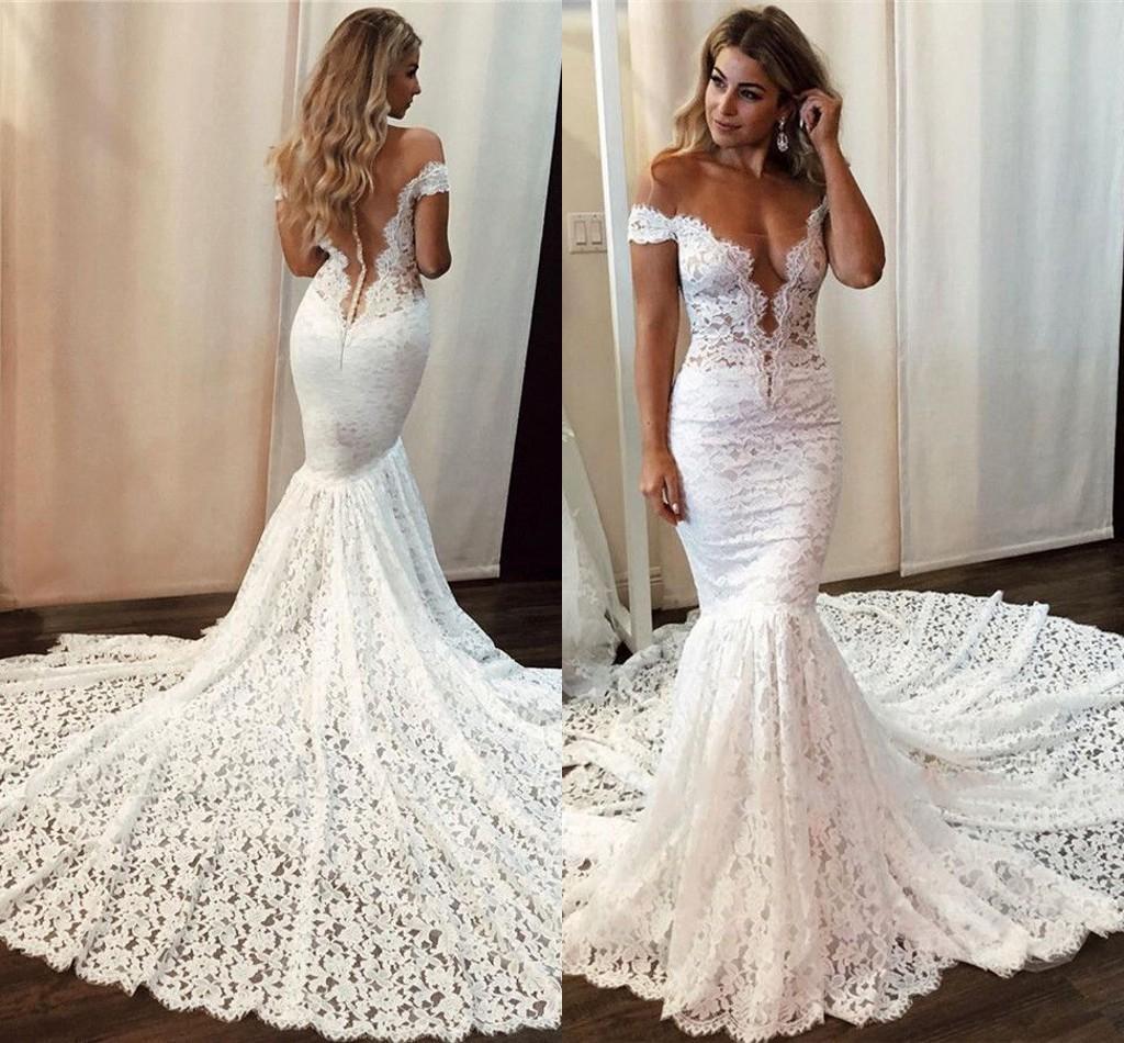Lace Mermaid Wedding Dresses 2020 Off Shoulder Sweep Train Illusion Bodice Garden Beach Bridal Gowns vestidos de novia Plus Size Customized
