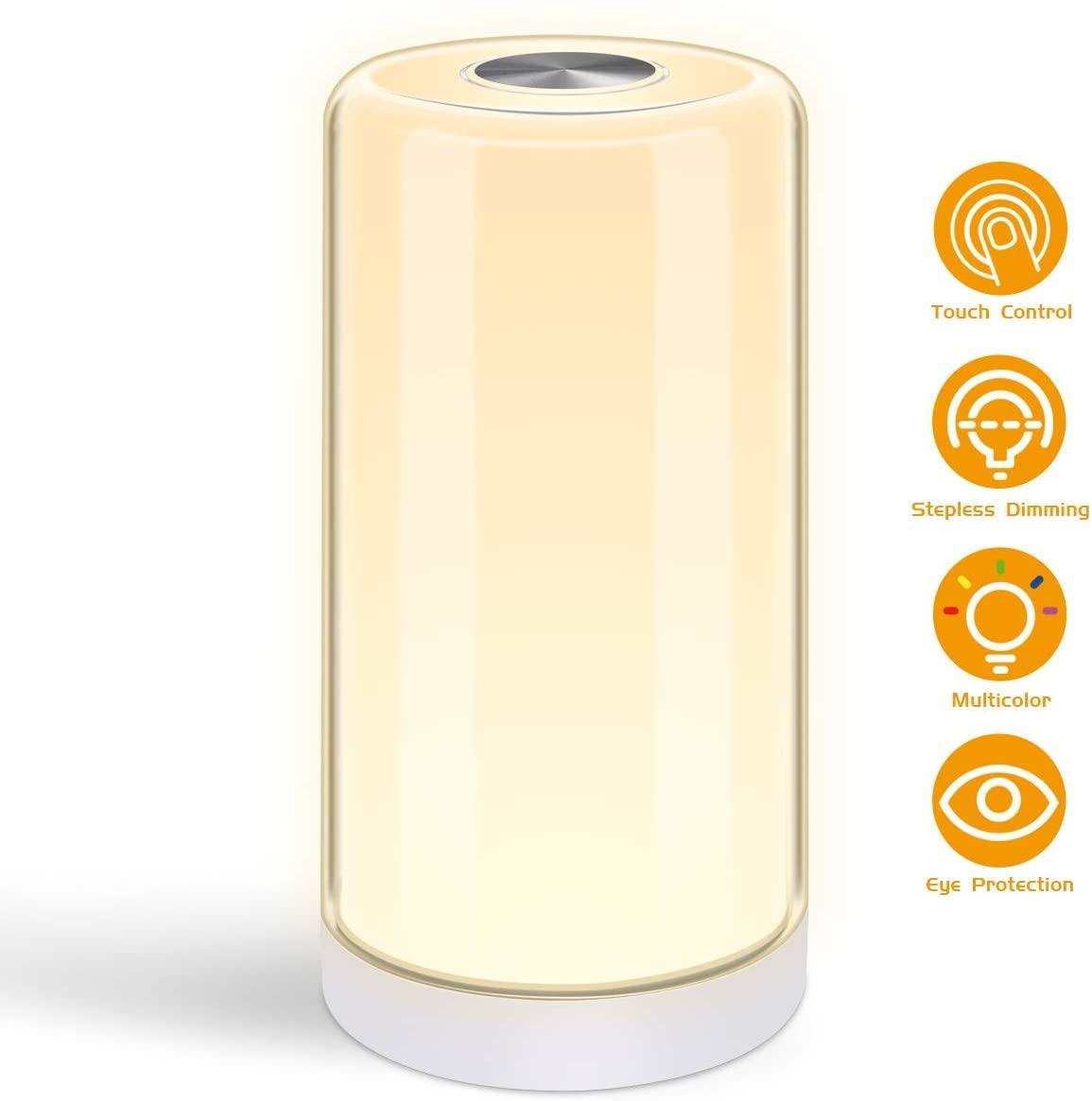 Abajur, sensor de toque lâmpada de cabeceira com Regulável 2800K-6500K RGB mudança da cor, Lâmpada LED Modern Desk para sala, quarto, escritório