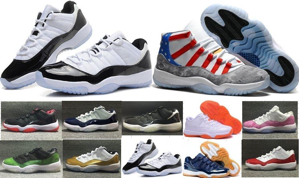 Venta caliente 11 zapatos bajos de baloncesto metálico del baloncesto del oro 11s baratos Bred Red Concord Infare Blanco / Nocturna Georgetown zapatillas de deporte 36 - 47