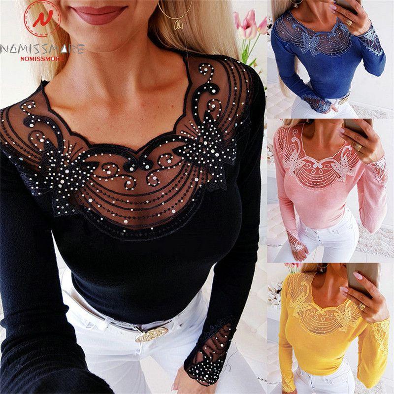 Frauen Langarm T-Shirts Patchwork Design Spitze Diamant Decor Durchsichtig Oansatz Solide Top Elegante Dame Herbst Dünne Shirts