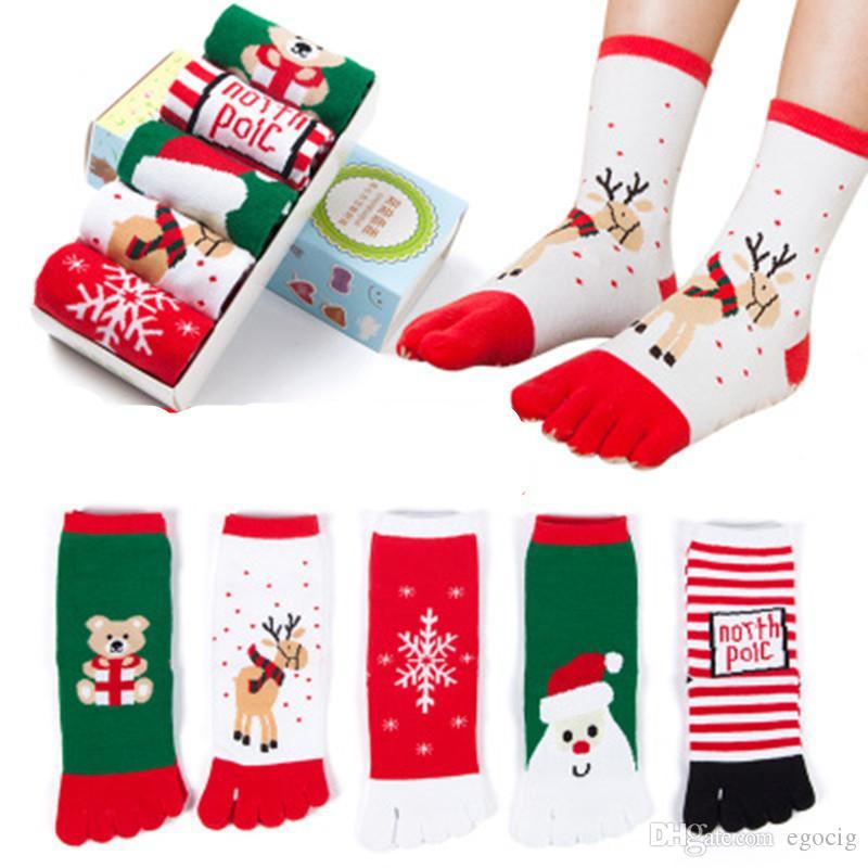 Natale calze piedi i bambini divertente cartone animato 3D Printed Five Fingers calzini pupazzo di neve Babbo bambini caldi mezzo polpaccio Lunga calza 5 colori libera DHL
