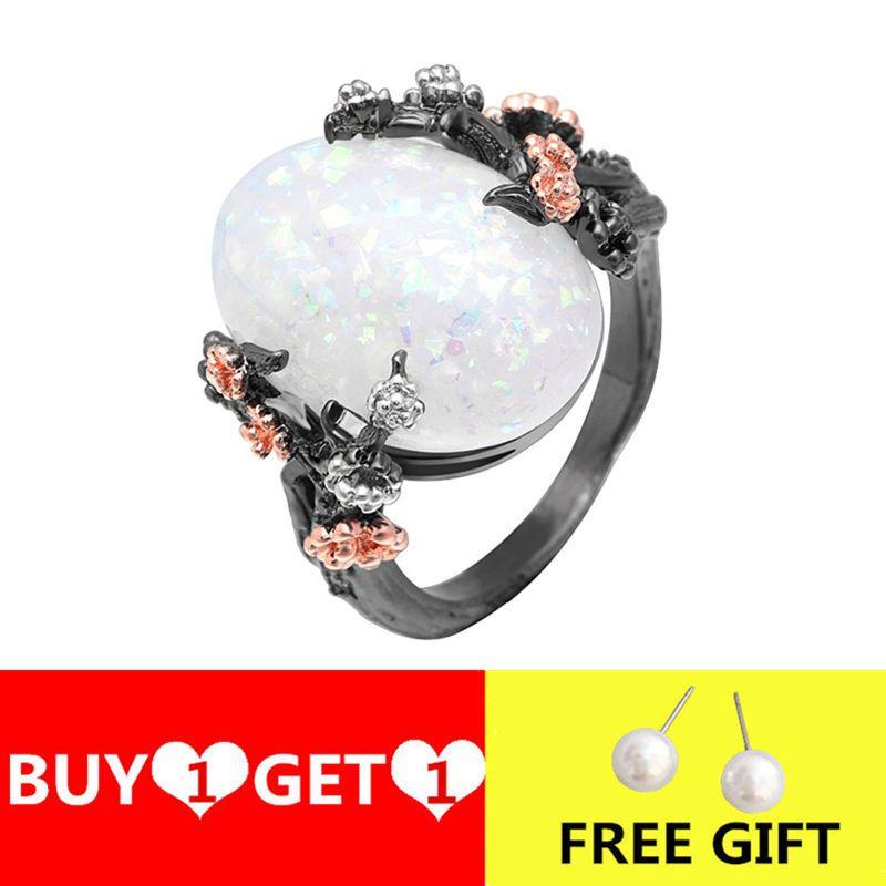 Vintage Big ovale Opal Stone Flower Anneaux pour les femmes de couleur d'or noir bague de fiançailles de mariage Bijoux Bague Anel Accessoires Mujer