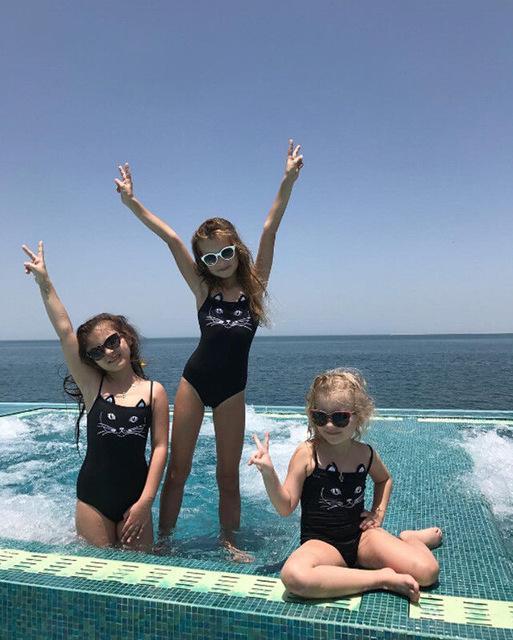 2019 New Baby Kids Girls Cartoon Swimwear One-Piece Swimsuits Cat Printed Swimsuits Beachwear 1-11 Fits