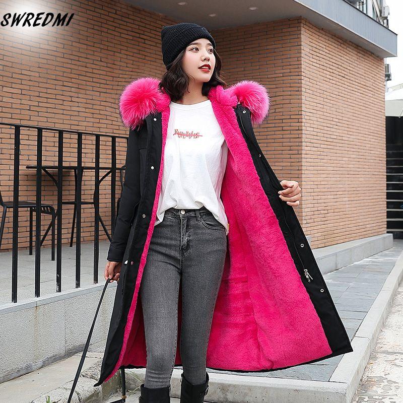 SWREDMI Kapşonlu Büyük Kürk Kış Kadınlar Yeni Moda Lambswool Sıcak Kış Ceket Kadınlar Oversize S-3XL Uzun Parka Kadın Coats