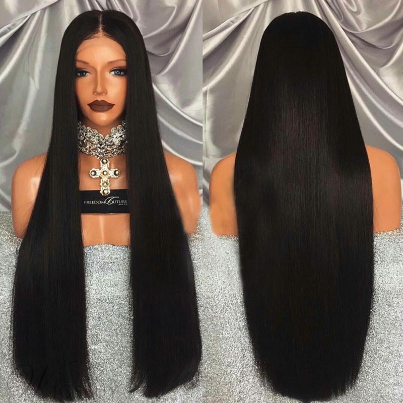 가발 여성 화학 섬유 머리를 머리에 검은 실물 가발 레이스 전에 여성 긴 직선 머리 도매 설정