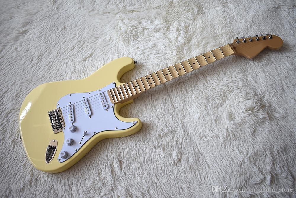 Guitarra eléctrica de color amarillo a la medida con precios especiales de fábrica con cuello festoneado, 21 trastes, Pickguard blanco, alta calidad, personalización