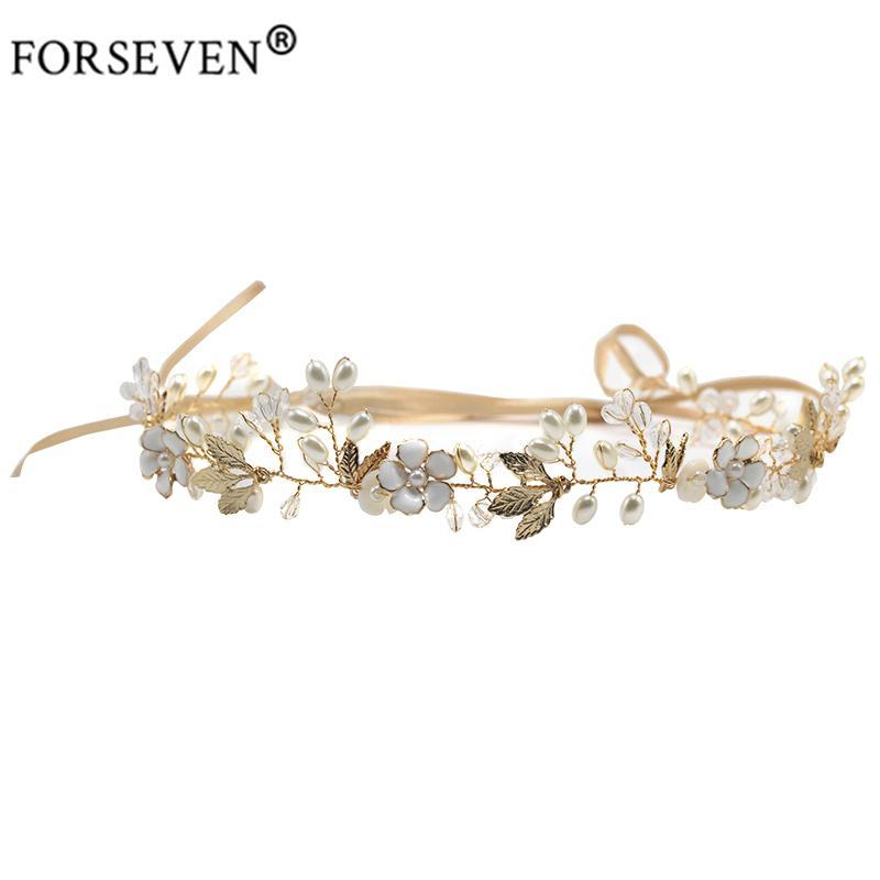 FORSEVEN High Quality Gold Crystal Pearl Headband For Bride Hair Accessories Flower Head Piece Handmade Wedding Hair Jewelry S918