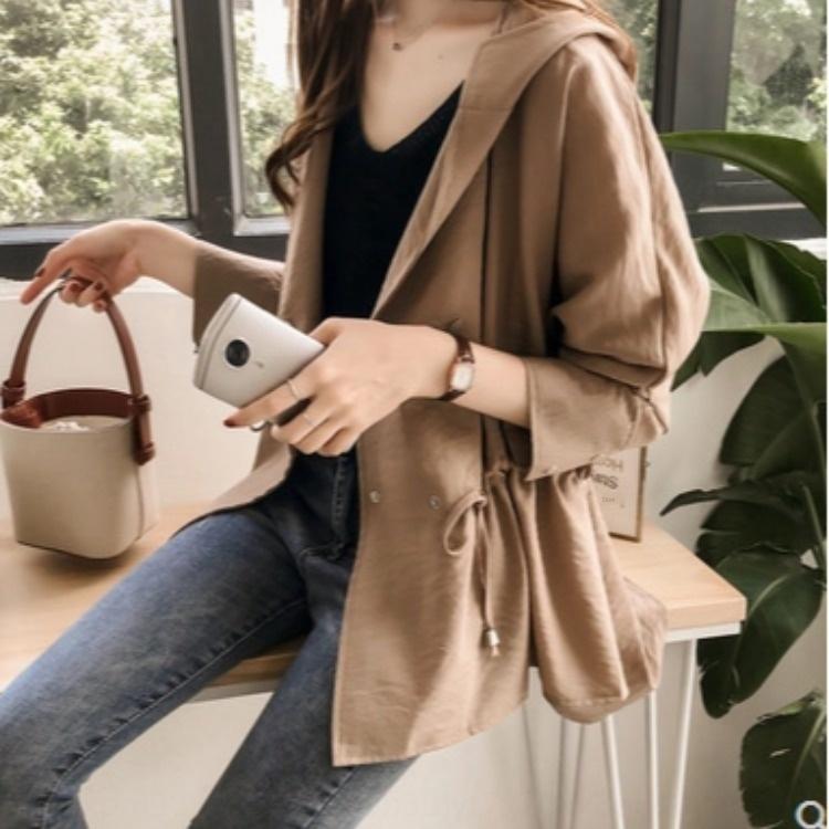 uQyY7 printemps et vêtements pour femmes automne 2020 nouvelle coupe-vent style coréen lâche à mi-longueur femmes manteau trench à capuchon bf casual manches longues
