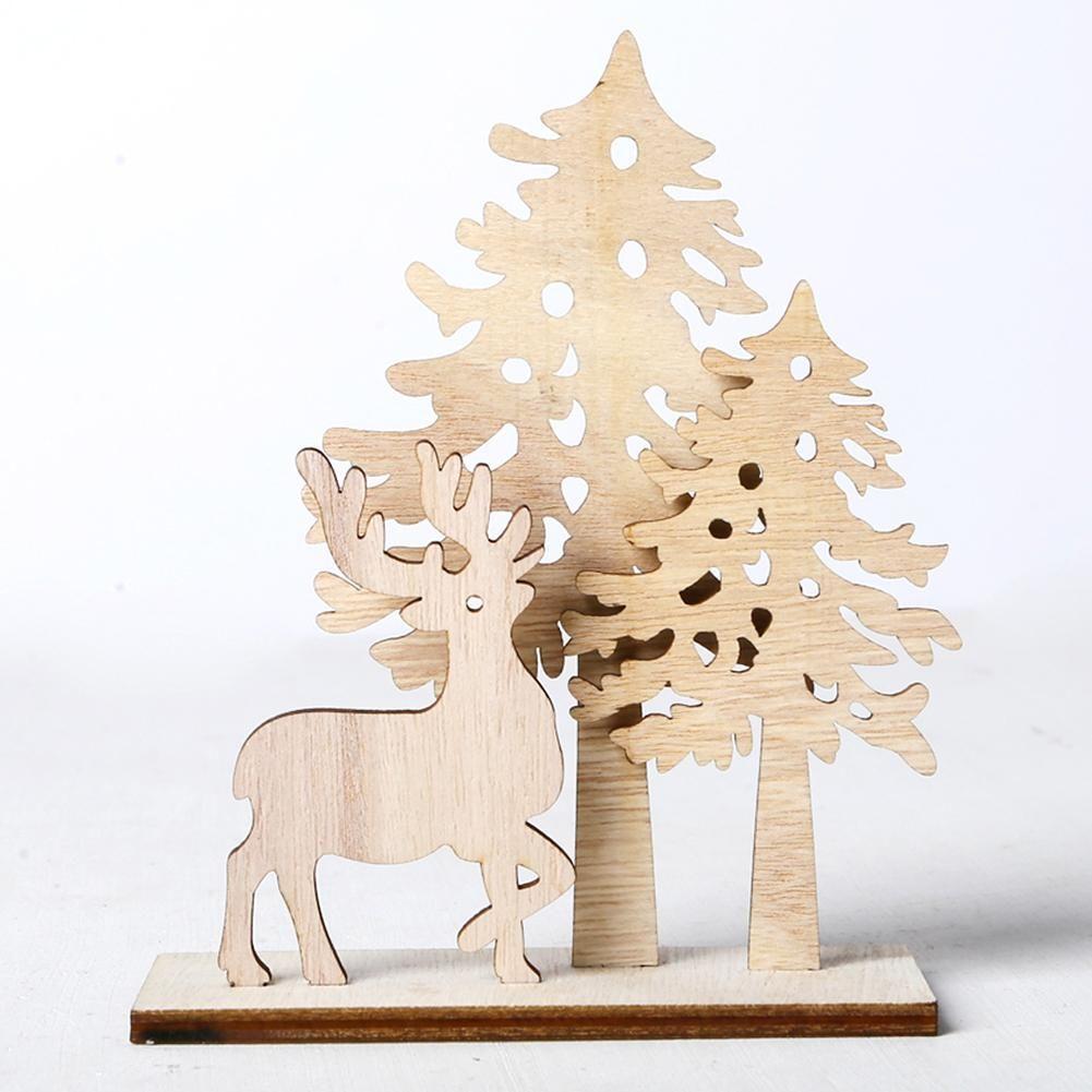 DIY натурального дерева Chip рождественской елки Elk Crafts украшения Творческий Детские Подарки Elk Tree Shape Xmas Украшения Украшения