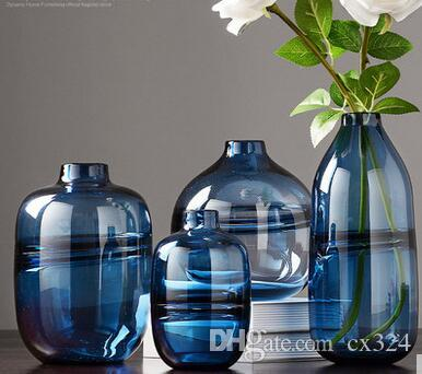 Modern minimalist transparent glass vase decoration Nordic style living room with dry flower ornament