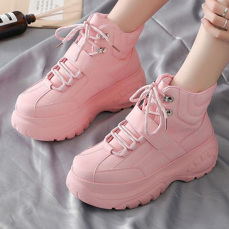 Platform Sneakers Pink Pu Leather