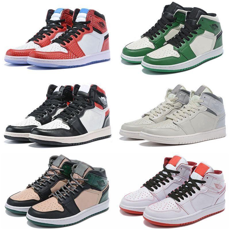 2020 New Black Cat blanc Ciment Qu'est-ce que Travis Scotts Mens Jumpman 1 1s extérieur Chaussures de basket UNC Bred Concord 45 Chaussures de sport pour hommes