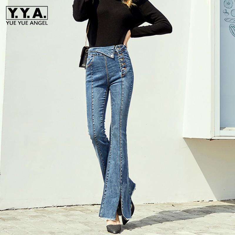 Neue Art und Weise Frauen-hohe Taillen-Buttons Jeans Quasten Denim Flare Pants Slim Fit Push-Up-Büro-Damen-lange Hose-Jeans-Hosen