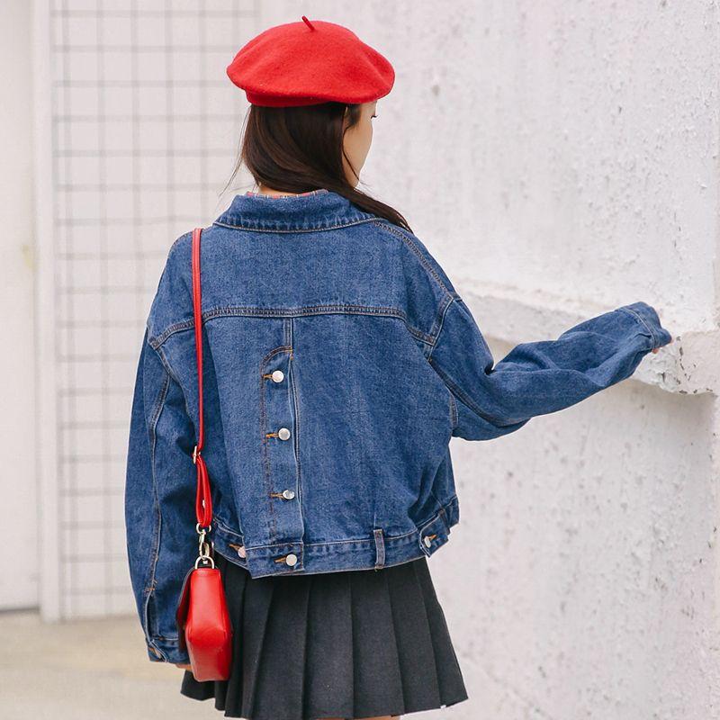 2018 Mulheres Básico Curto Jaqueta Jeans Meninas Casaco Jeans Casacos Senhoras Casacos Soltos Harajuku Casacos Namorado Plus Size roupas