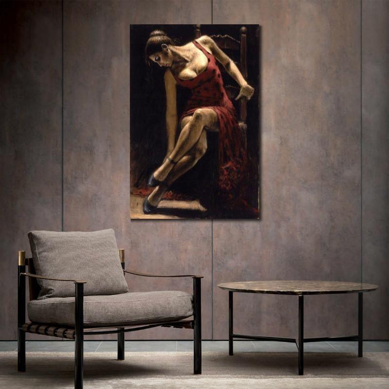 ofis odası için Sandalye İspanyol sanatını el boyaması Kadın yağlı boya portreler resimlerinde Flamenko Dansçısı