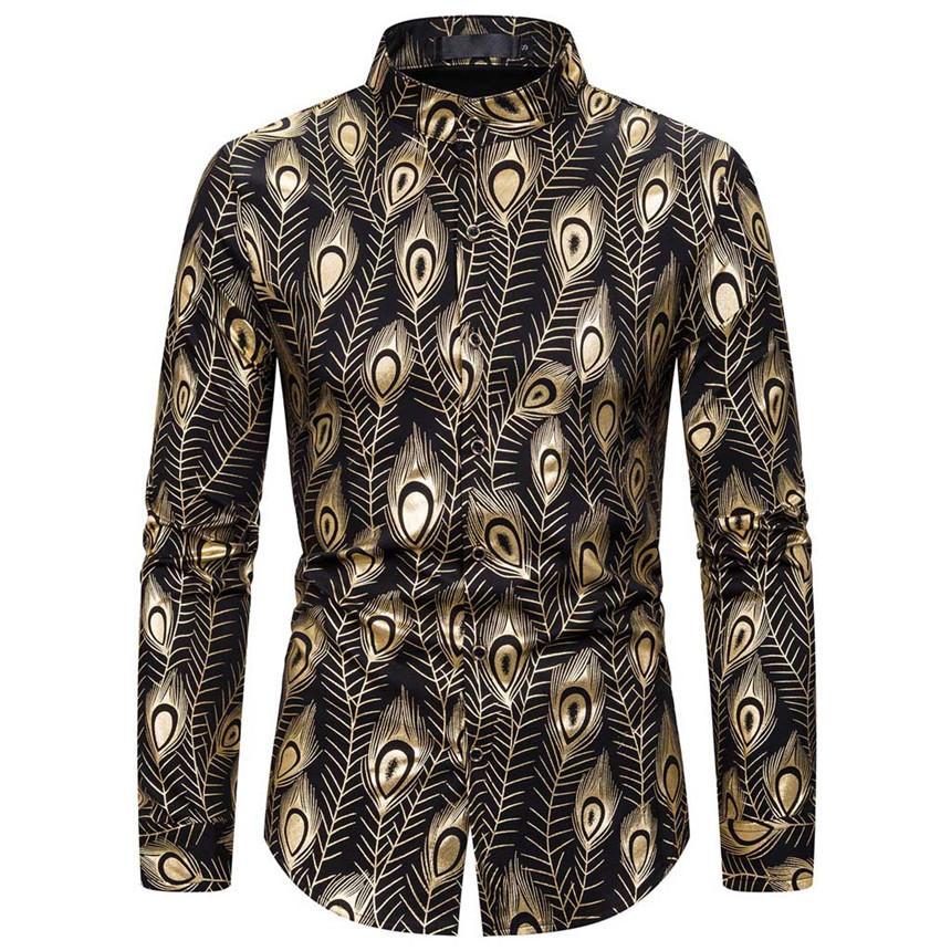 KLV Shirts Männer der neuen Art Stamped Langarm-Shirt gedruckt langärmlige Bluse Gold Bedruckten Hemd Sänger Shirts