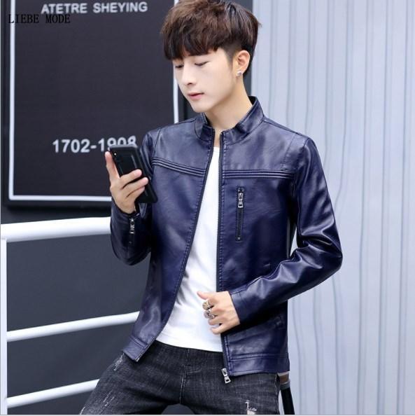 0334b38d6 2019 Mens Slim Fit Leather Bomber Jacket Men Black Blue Burgundy Faux  Leather Moto Biker Jacket Men Casual Pu Outerwear Coat Zipper From Jingju,  $53.8 ...