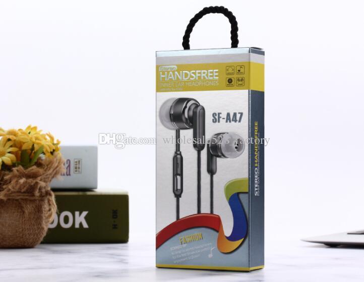 마이크 핫 판매 NEW 타입 이어폰 SF-A47 이어폰 손 무료 유니버설 3.5MM 인 - 이어 이어폰 이어 버드 헤드폰 스테레오 헤드셋
