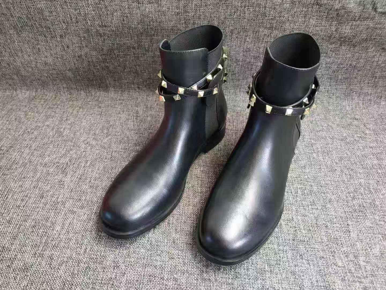 Internacionales señoras de la manera de la marca de lujo de diseño nuevos ~ 40 U802 botas cortas de cuero motocicleta negro zapatos planos botines 002