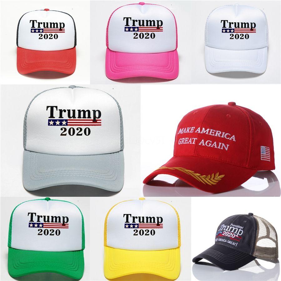 2020 donne degli uomini camuffamento cappello di baseball della visiera Trump 2020 Maga Camo cappello ricamato Tenere rendere l'America Great Again protezione del camion dei cappelli del driver # 607