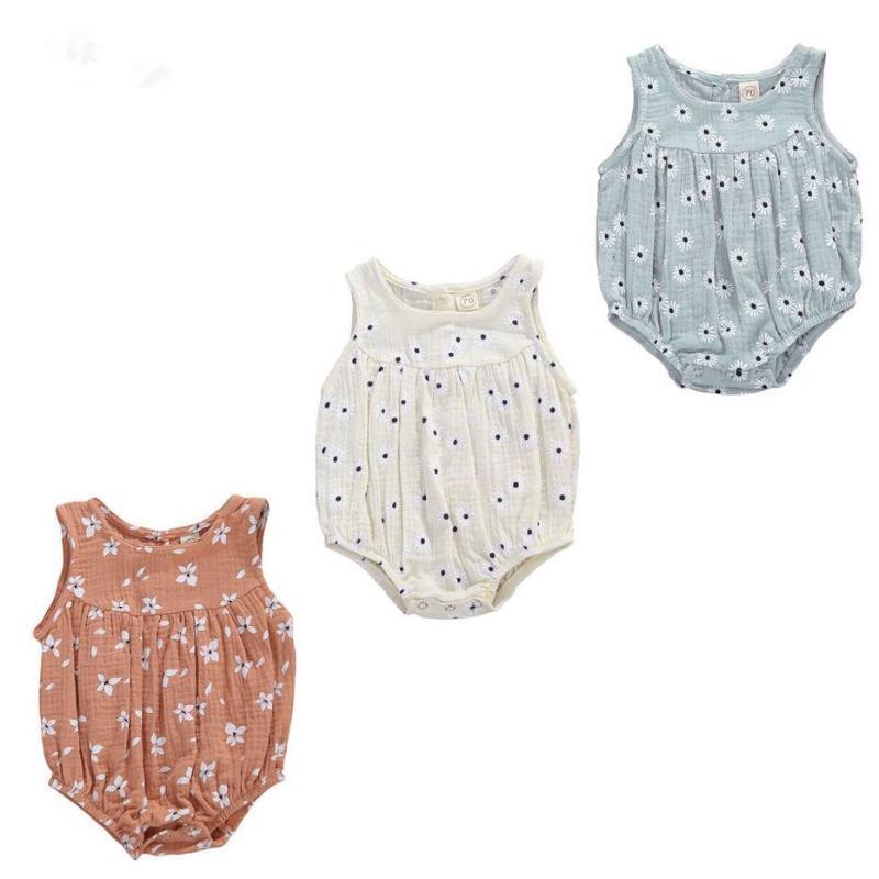0-24M Bebek Bebek Pamuk Keten Romper Kızlar Çiçek Kolsuz Yumuşak tulum Jumpsuit 3 Renkler yazdır