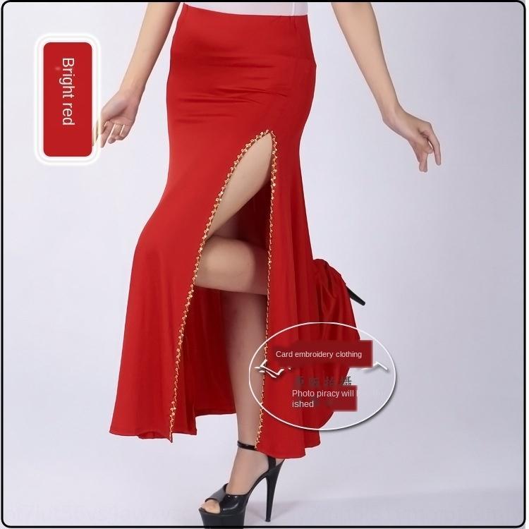 Les paillettes de queue de poisson oscillant de la hanche performance de danse du ventre ouverture latérale jupe pratique compétition jupe danse fourchette