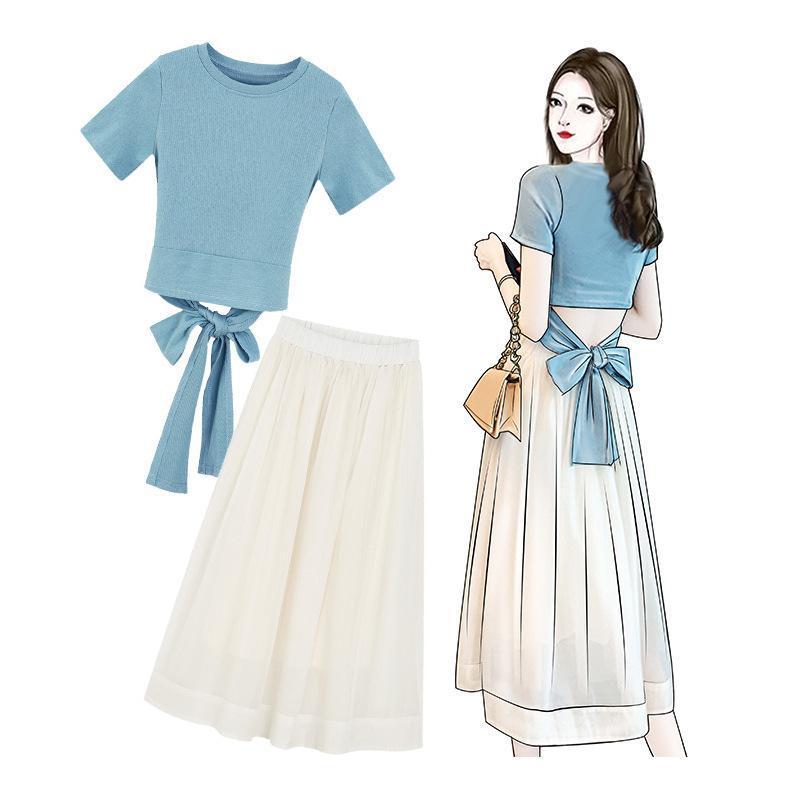 tişört kadar ICHOIX ilkbahar yaz 2 parçalı set seksi dantel midi Koreli 2 parçanın kıyafetler festivali giyim etek seti etek örgü