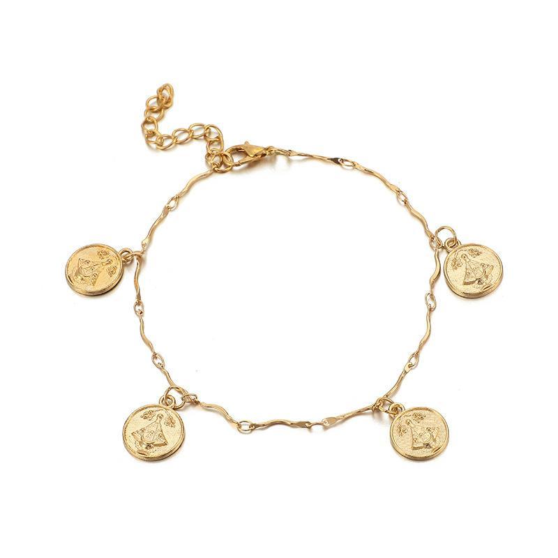 4 ADET / Lucky braclets Takı Kadınlar Boncuk Zincir Altın Kolye Bilezikleri'nin Seti Altın Haç Charm Bilezikler