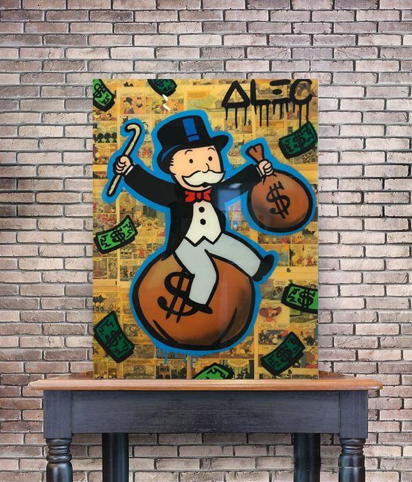 Alec Monopoly Assis sur le sac avec l'argent de canne Home Décor peint à la main huile d'impression HD Peinture Sur Toile Wall Art Toile 200526
