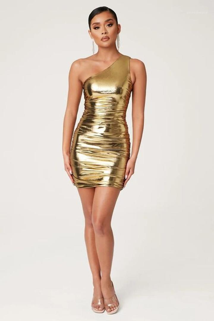 숄더 드레스 섹시한 엉덩이의 타이트한 민소매 Famale 파티 드레스 디자이너 여성 의류 여자 브론 징 하나