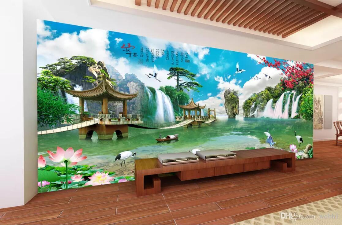 3D 룸 벽지 사용자 정의 사진 부직포 벽화 HD 파노라마 풍경 프리 페인팅 동화 나라 벽 3 d 용 TV 벽지