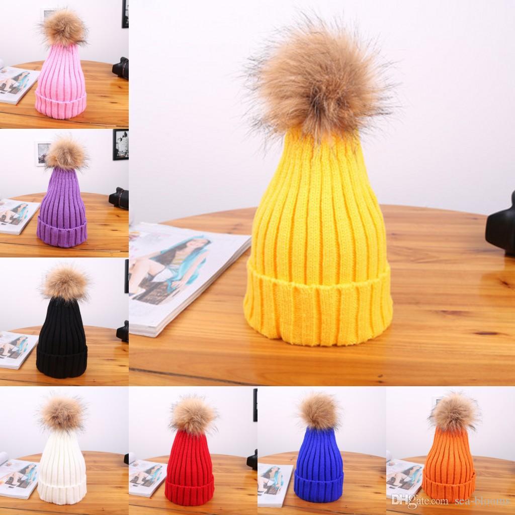 Свободные DHL для взрослых Зимние шапки для детей Вязаная шапочка Cap Детские Дети Fur Pom Pom Hat взрослых Прекрасные Hairball детей Cap Beanie M191Y