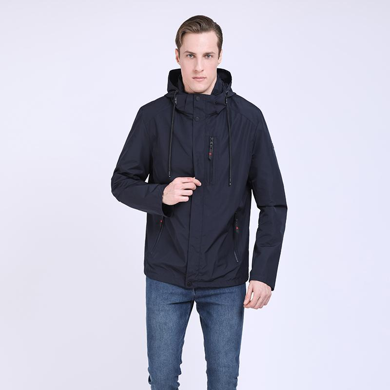 TALIFECK 2019 New Men's coat Spring and Autumn Jacket Fashion casual windbreaker high quality Solid color Dark Blue Thin