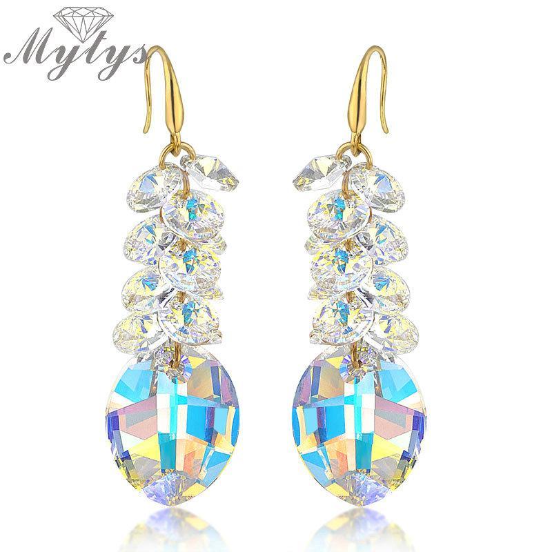 Pendientes de cristal de la moda de alta calidad gota de la manera transparente claro de luz brillante azul CE93