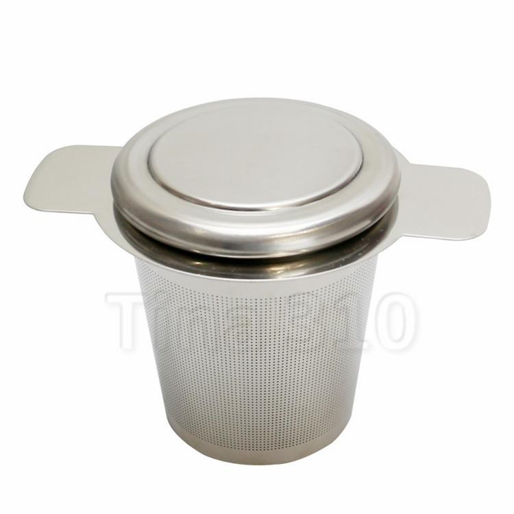 hot Lid and Coffee Filters Fine Mesh Tea Strainer Reusable Stainless Steel Tea Infusers Silica Gel Ears with Separator DrinkwareT2I5438