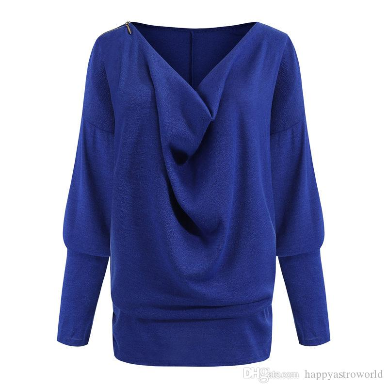 Autumn Women Clothes Designer Tshirts Batwing Sleeve Womens Solid Color Tops Fashion Ladies Casual Tees Streetwear