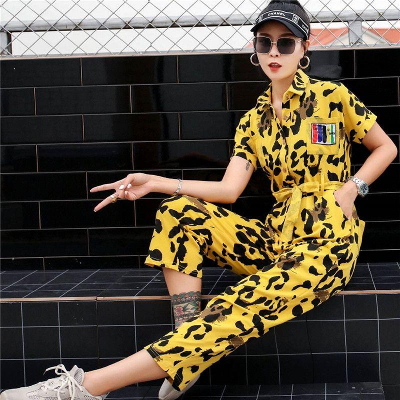 pantalons décontractés pour femmes de la marque Tide femme 2019 nouvelle personnalité imprimé léopard hip hop t-shirt été pantalon salopette