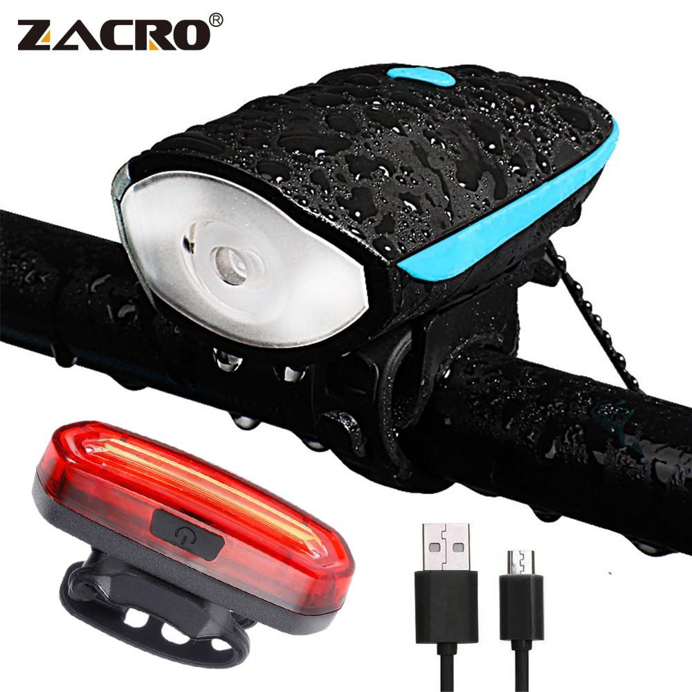 Zacro Led Bike Light with Bell Rechargeable Tail Light Waterproof Flashlight Running Led Muti-Functional Speakers for Bicycles T190926