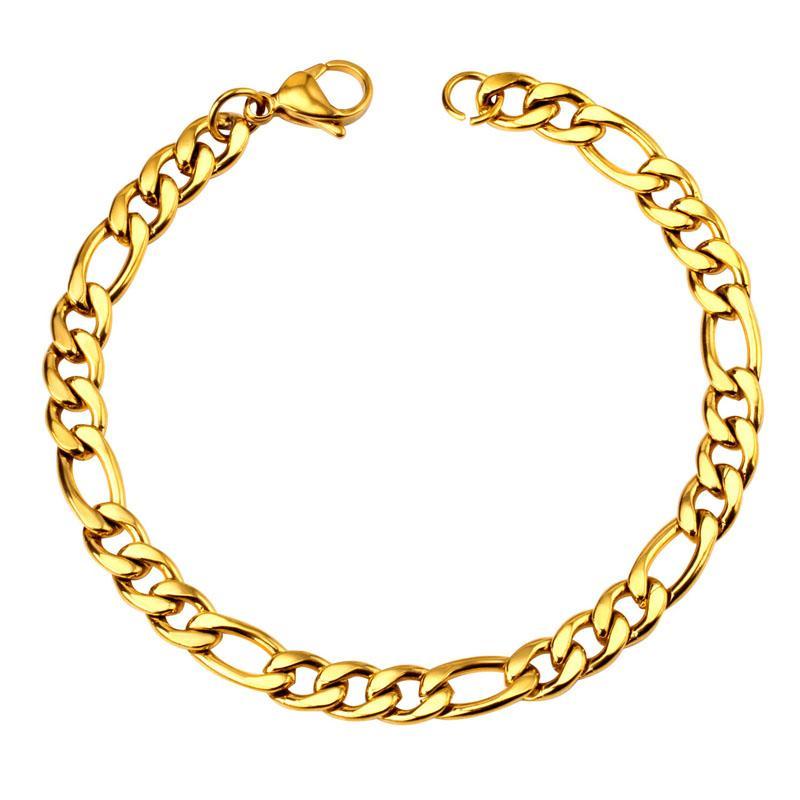 Hip Hop Punk Bracelet chaîne Bijoux Femmes Mode Hommes en acier inoxydable 7mm Figaro Chain Link Bracelet
