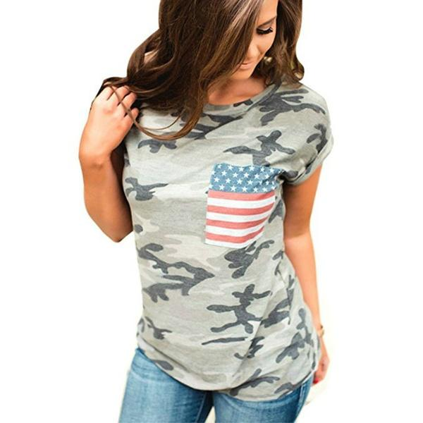 Womens Casual American Flag T Shirt July 4th Short Sleeve Tee USA Patriotic Summer Blouse Tops