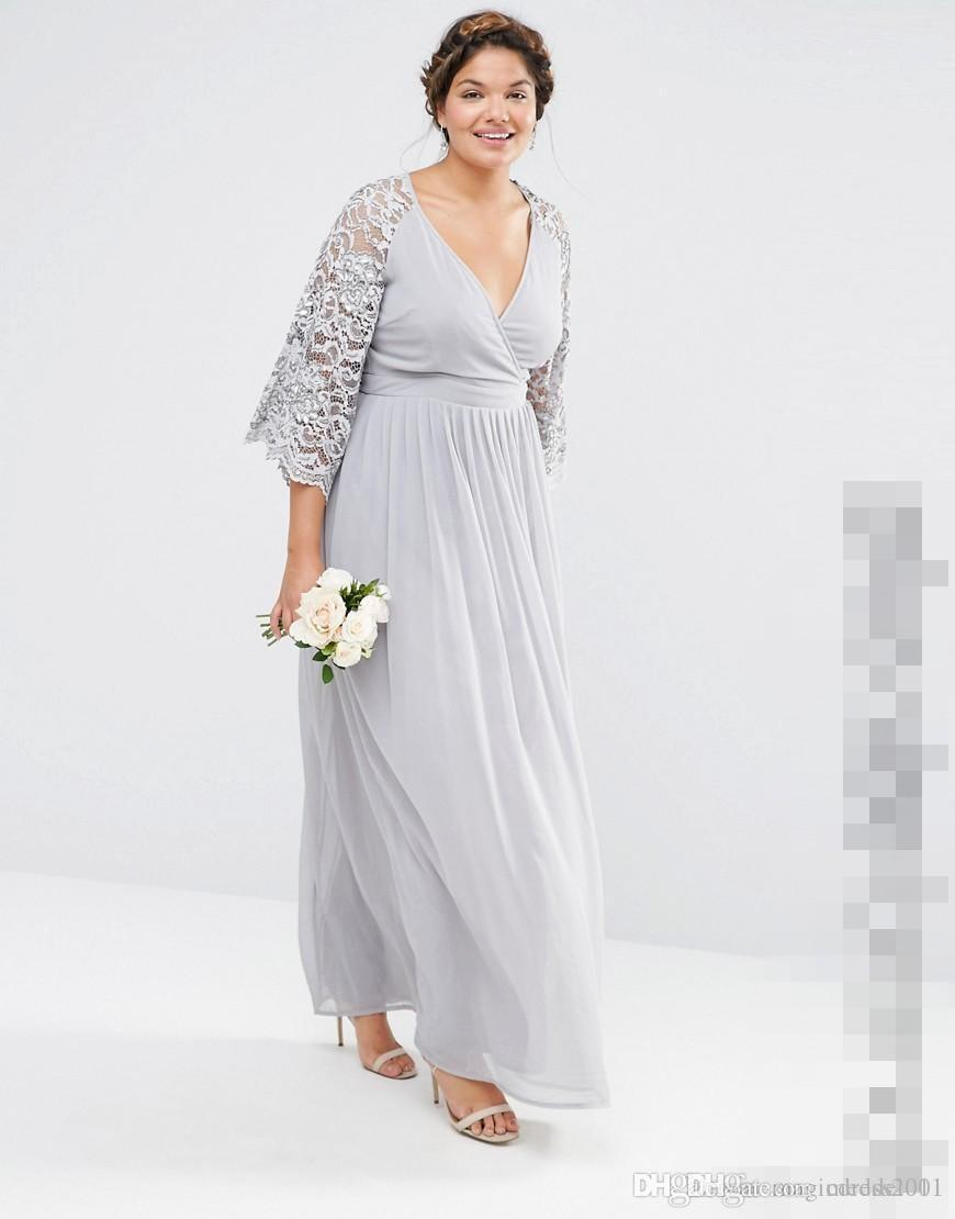 New Arrival Plus Size Bridesmaid Dresses With Lace Sleeves V Neck A Line  Prom Dress Ankle Length Chiffon Evening Gowns Plus Size Dresses Special ...
