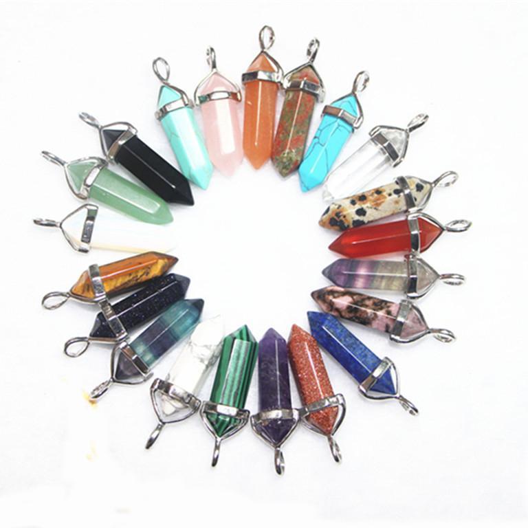 Bulk Charms 6 Seite Pendel Kugel Exquisite Jade Malachit Tigerauge Naturstein Anhänger Halskette Quarz Kristall Anhänger Heilkristalle