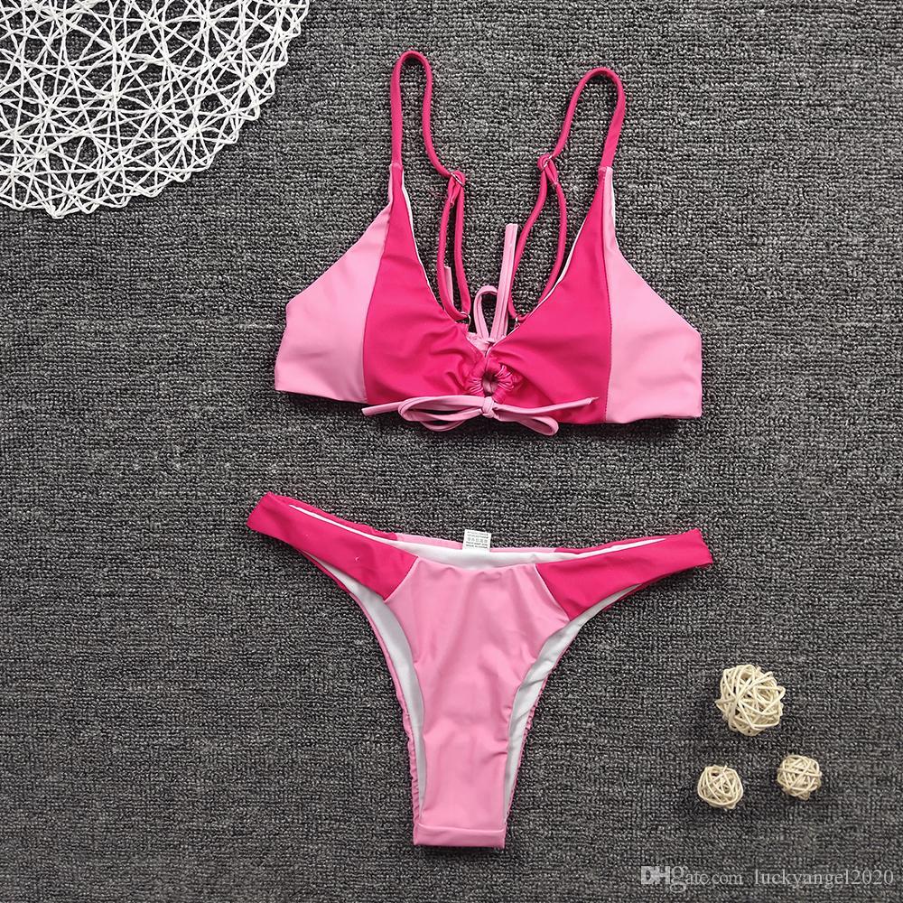 Verano 2020 nueva elástica engrosamiento de secado rápido color de la tela condole partido de las mujeres de moda spa de playa piscina